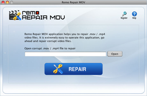 Repair Mov QuickTime - Main Screen